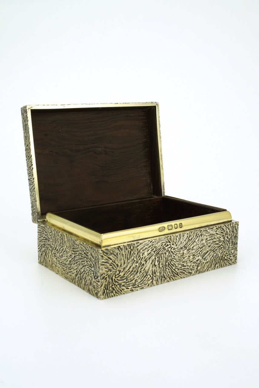 Stuart Devlin solid silver gilt and rosewood box 1969
