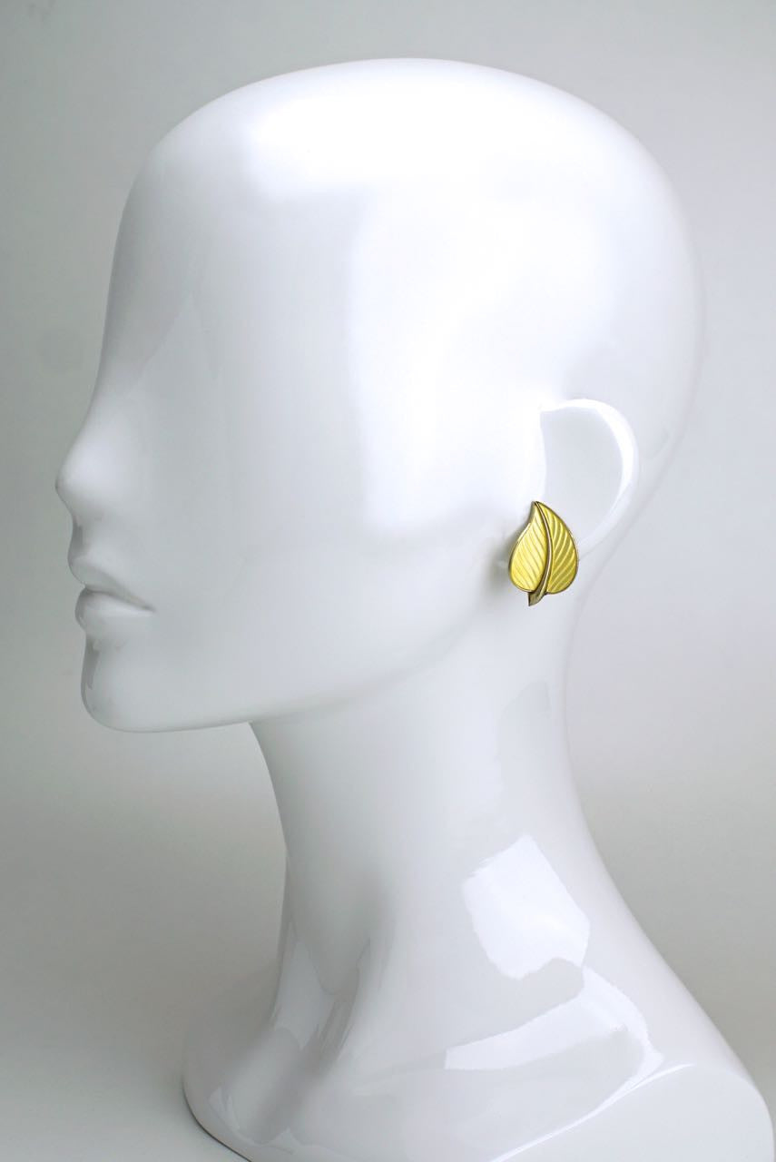 Norwegian silver and yellow enamel leaf clip earrings