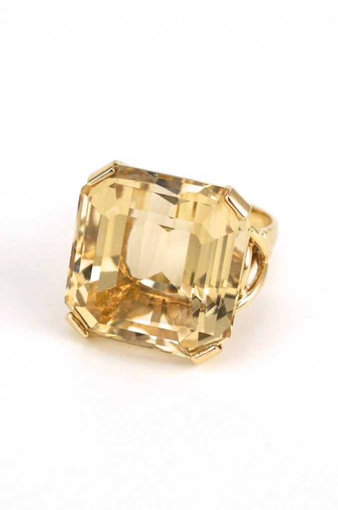 9k yellow gold smoky quartz square cocktail ring 1960s