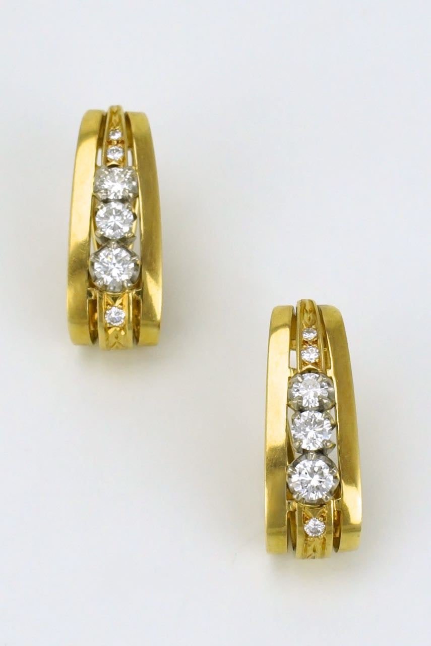 18k yellow gold and diamond half hoop earrings