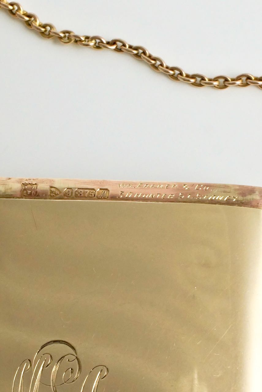 Antique Historic 9k Gold Card Case Australian Sporting Social Interest -  RPAYC Rawhiti 1912