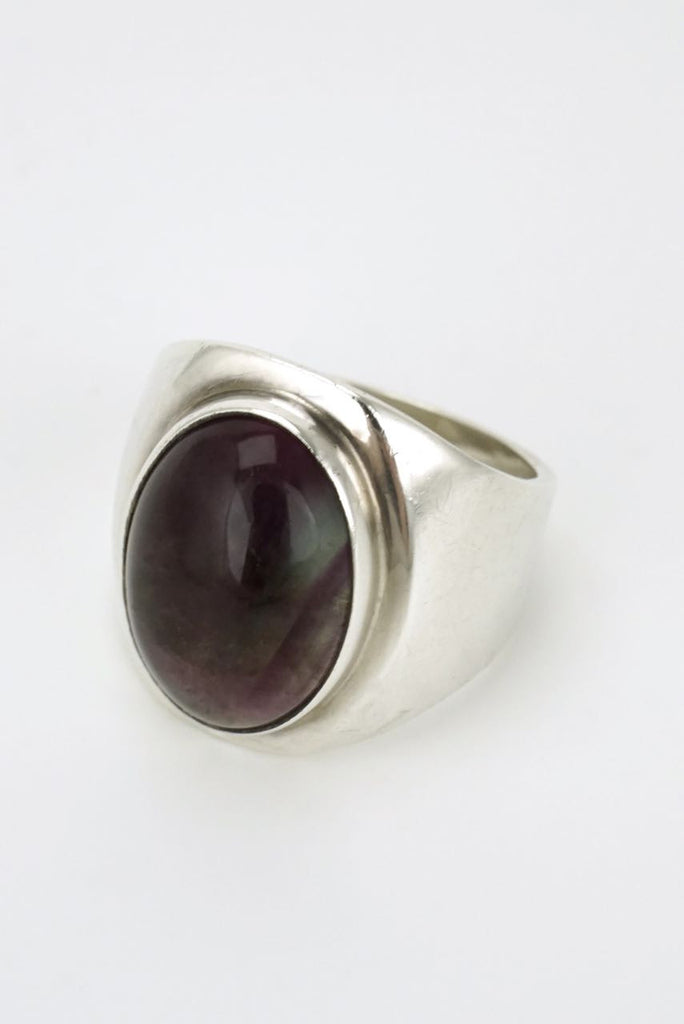 Modernist silver oval fluorite ring 1970s