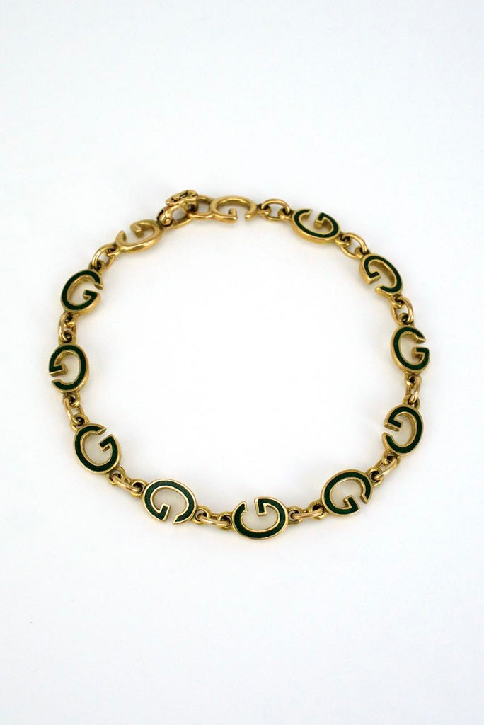 Vintage Gucci 18k gold and green enamel G bracelet 1960s