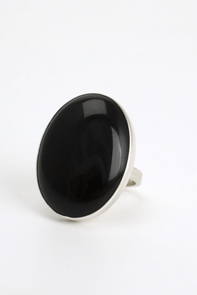 Vintage Danish silver oval onyx ring 1970s