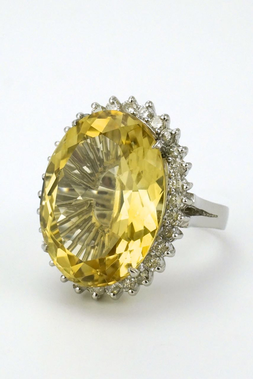 14k white gold diamond and lemon quartz oval ring - 1970s