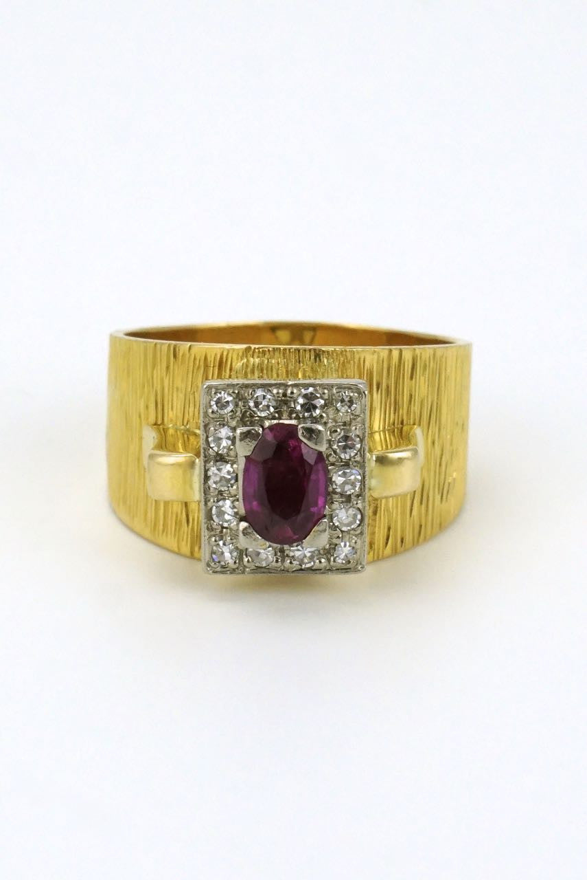 Vintage 18k Yellow Gold Ruby and Diamond Ring - 1960s