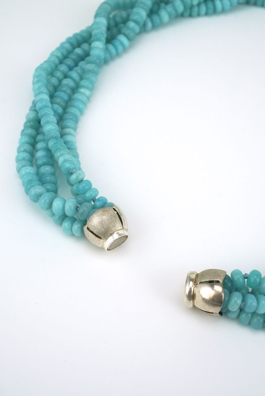 Amazonite 4 strand bead necklace