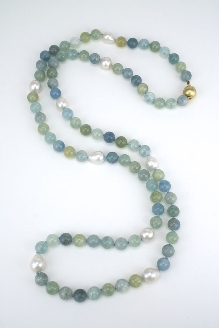 Pearl and aquamarine long bead necklace