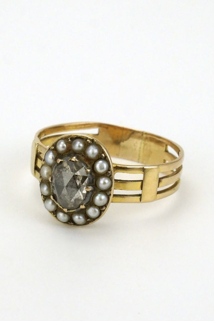 Antique Georgian 15k Yellow Gold Diamond Pearl Ring - 1820s
