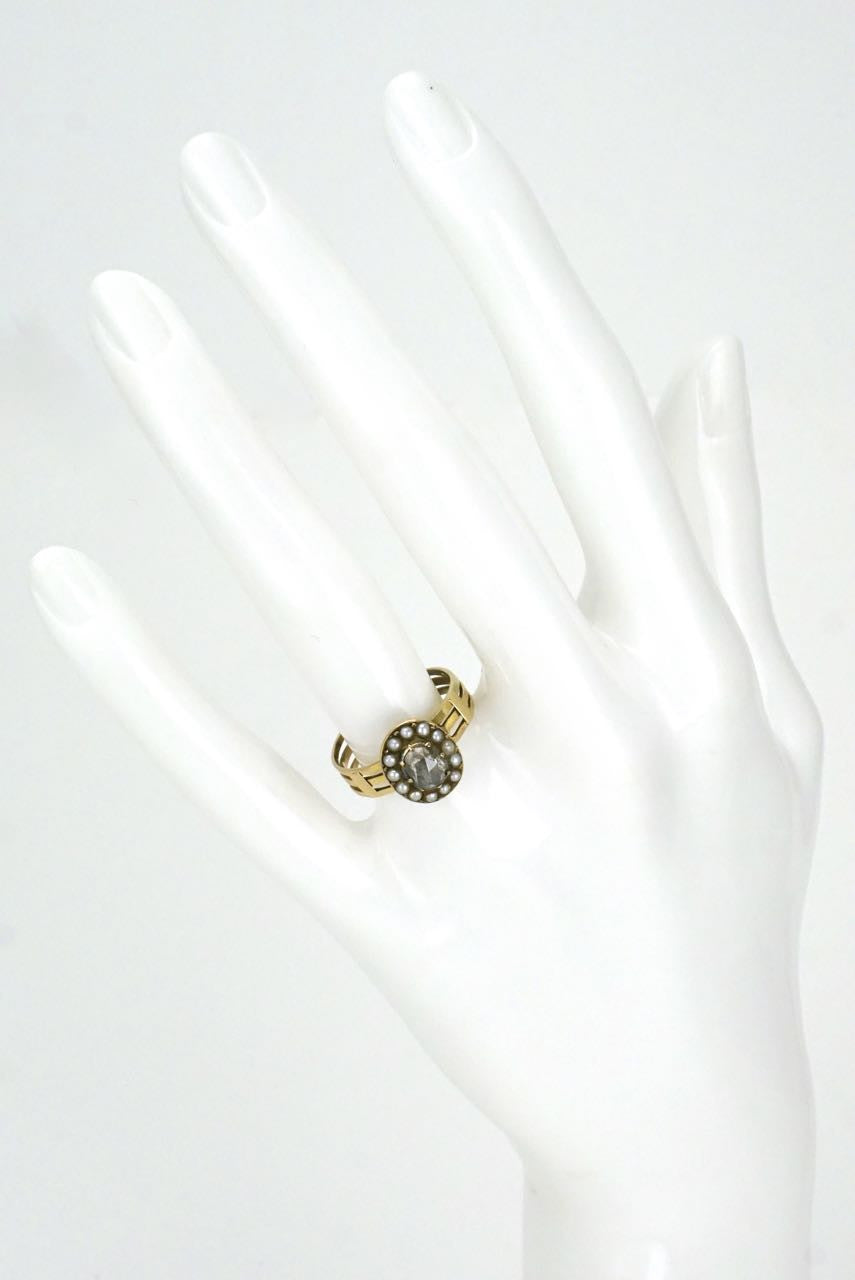 Georgian 15k yellow gold diamond pearl ring - 1820s