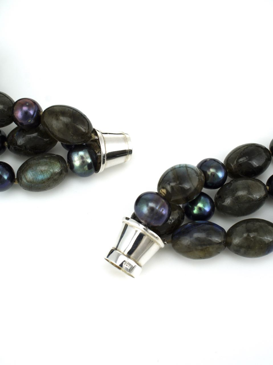 Labradorite Oval Bead and Black Pearl 3 Strand Necklace