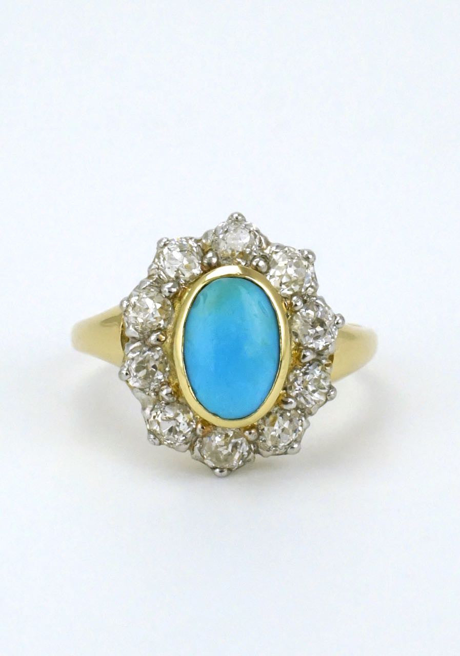 Antique 18k Yellow Gold Turquoise and Diamond Ring