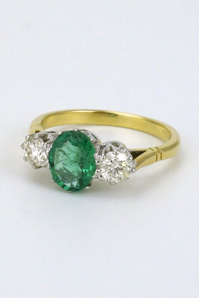 18k yellow gold emerald and diamond ring - 1950s