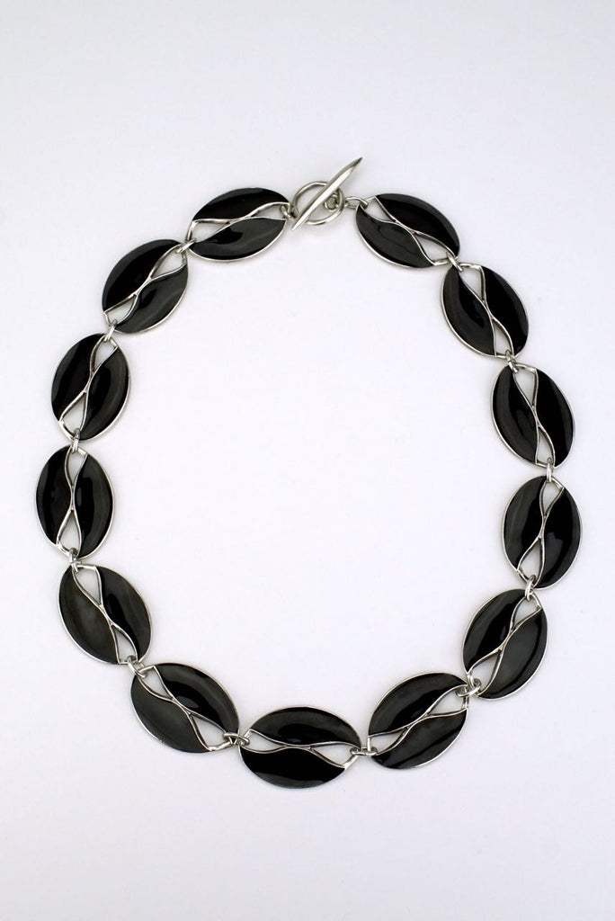 Danish silver and black enamel leaf necklace 1960s