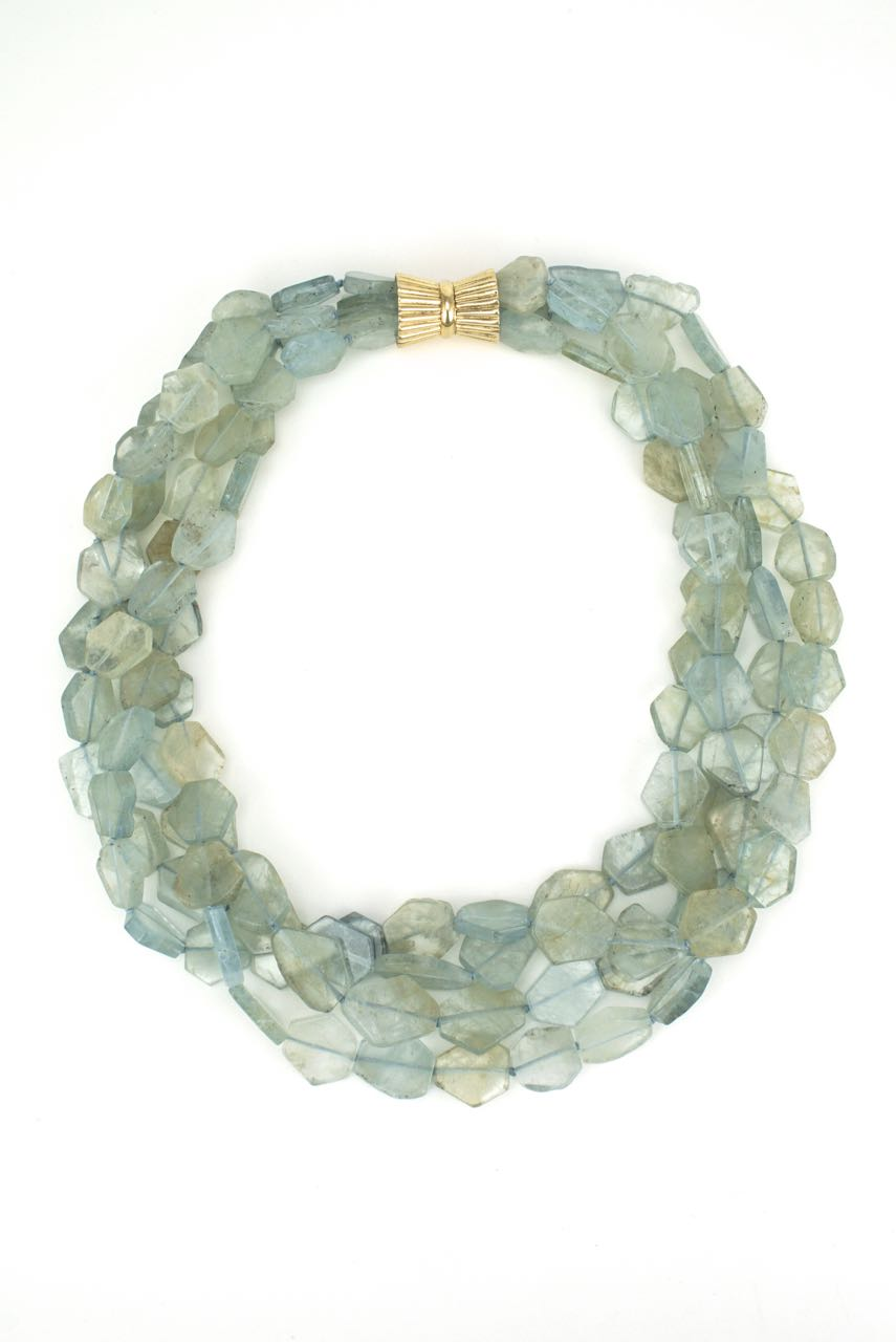 Aquamarine four strand flat bead necklace