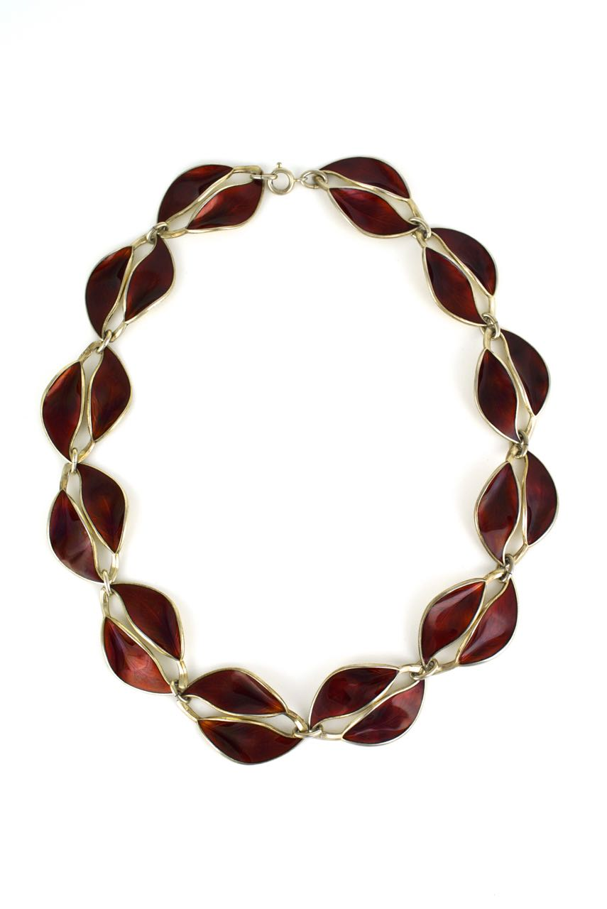 David Andersen silver and red enamel leaf necklace Norway