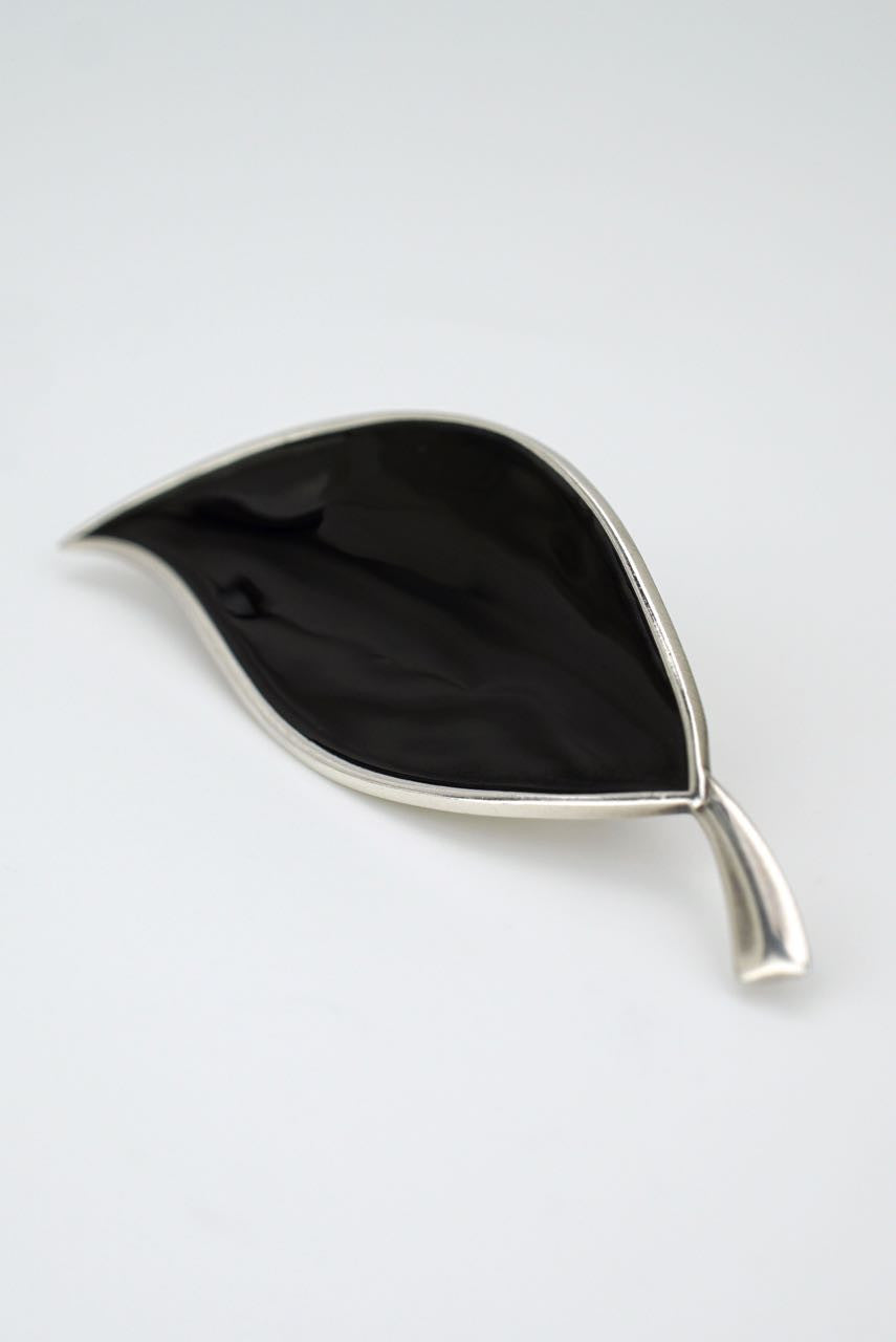 Danish silver and black enamel brooch