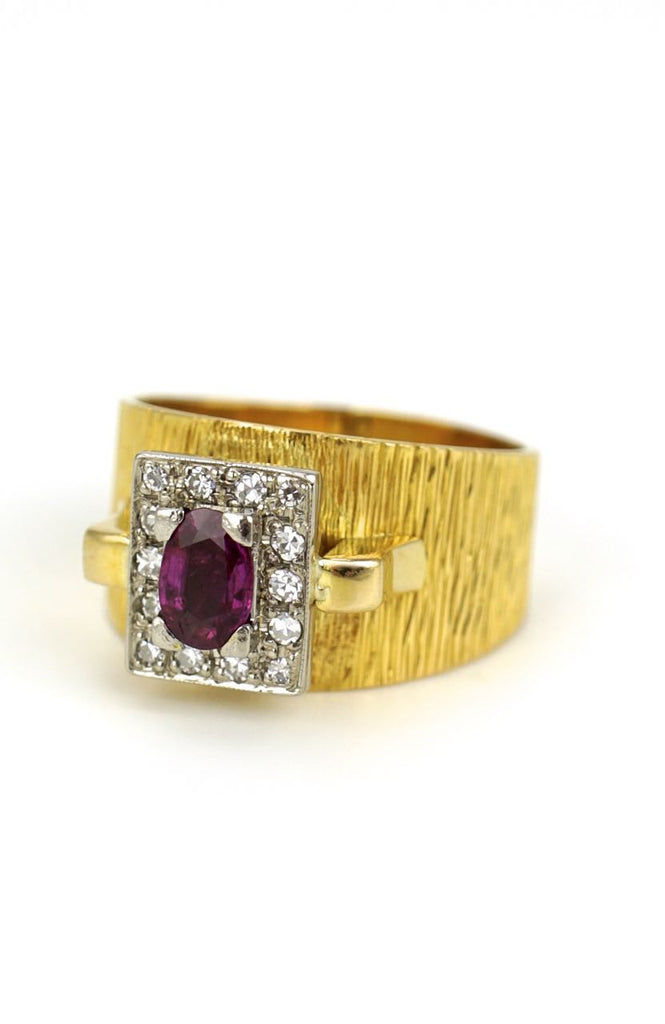 18k yellow gold ruby and diamond ring - 1960s