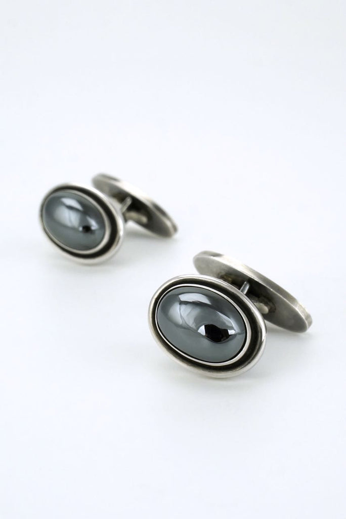 Georg Jensen silver and hematite cabachon cufflinks - design 44