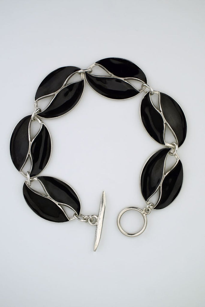 Danish Silver and Black Enamel Leaf Bracelet