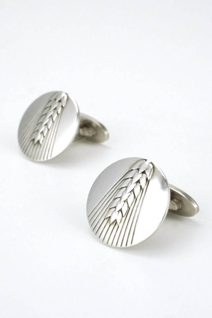 Vintage Georg Jensen silver wheat motif cufflinks - design 78B