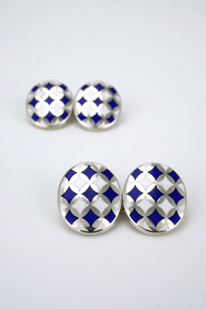 Sterling silver blue and white enamel cufflinks -1990s