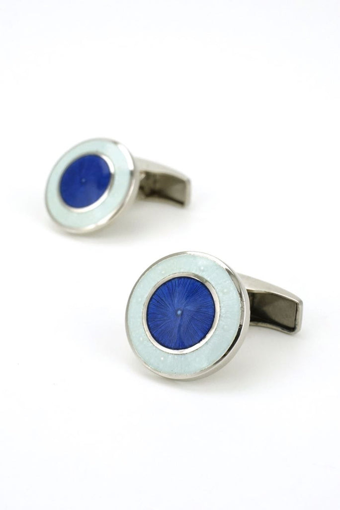 Italian silver and blue enamel cufflinks - 1990s