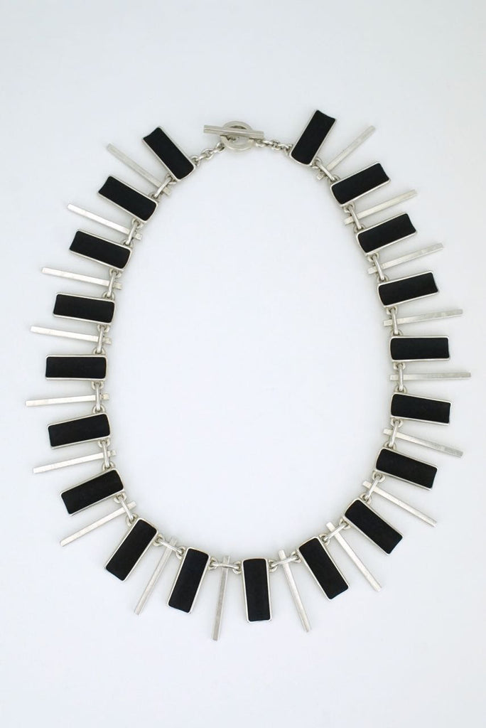 Danish silver panel and spike necklace