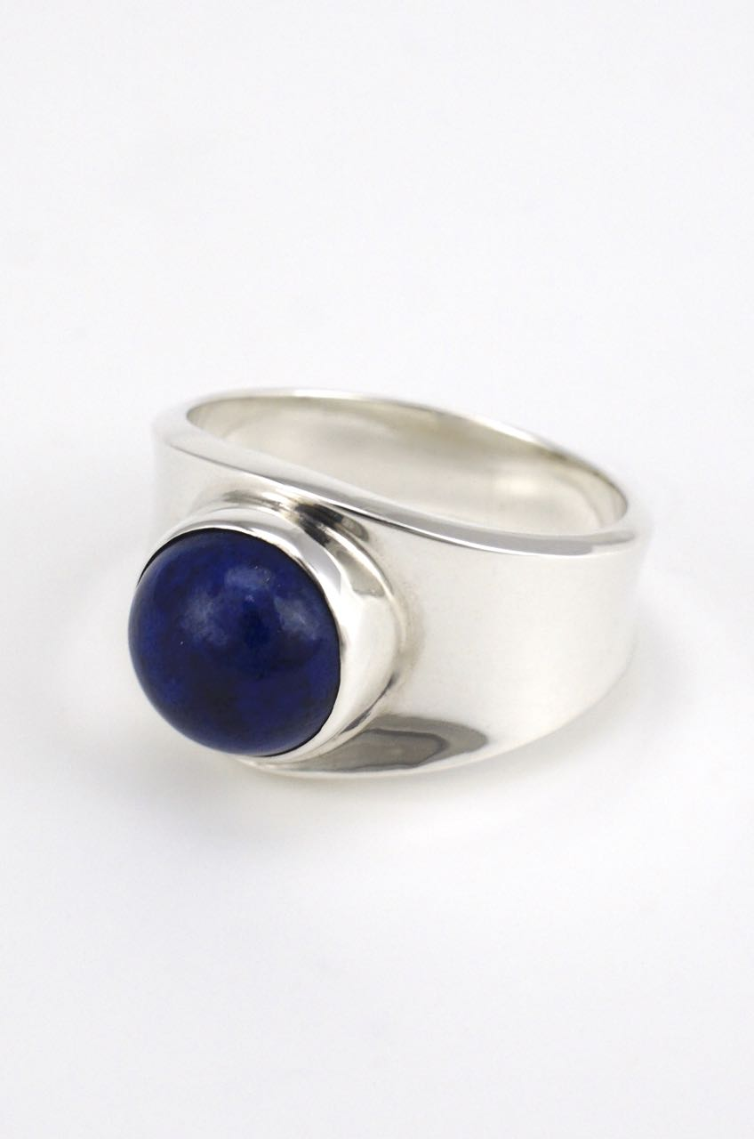 Georg Jensen silver and lapis ring - design 124