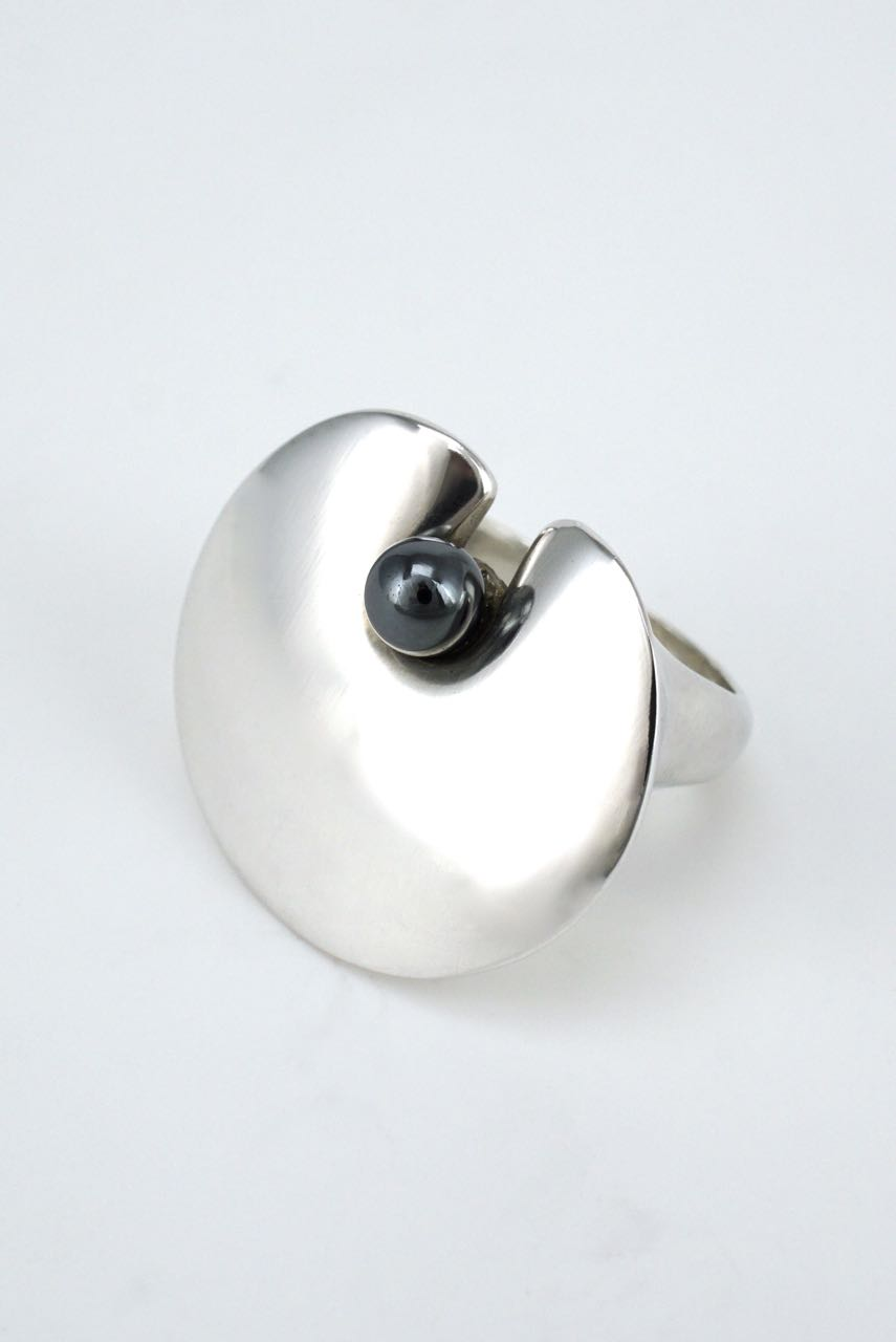 Georg Jensen silver lily pad and hematite bead ring - design 351