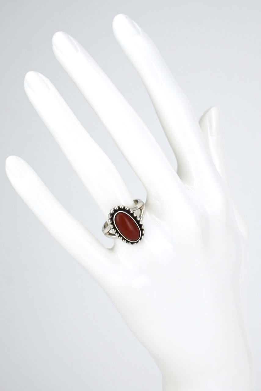 Georg Jensen sterling silver oval coral ring - design 9