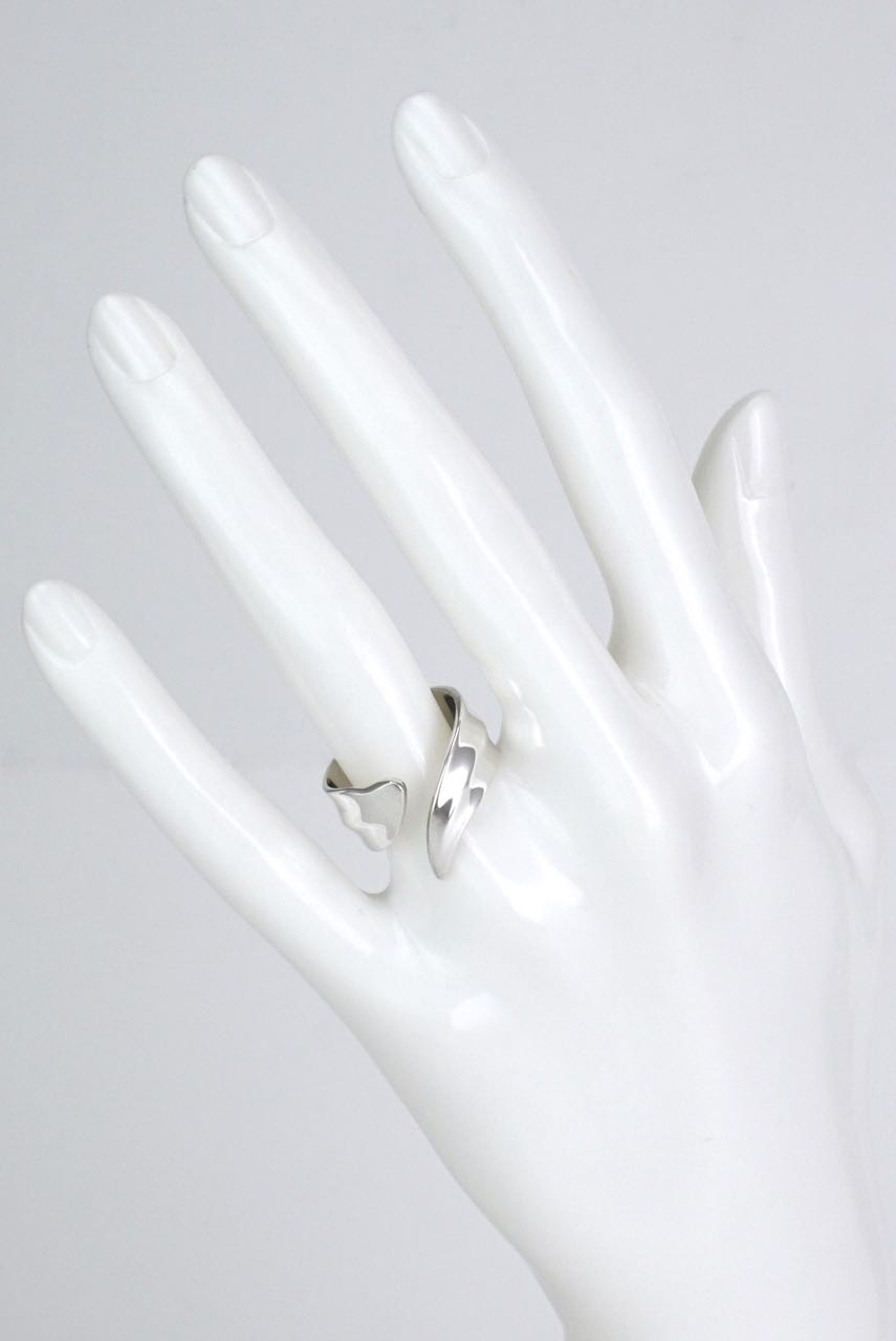 Georg Jensen sterling silver leaf wrap ring - design 330
