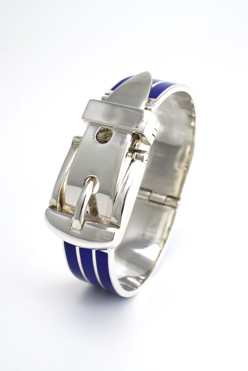 Italian solid silver and blue enamel belt bracelet 1960s
