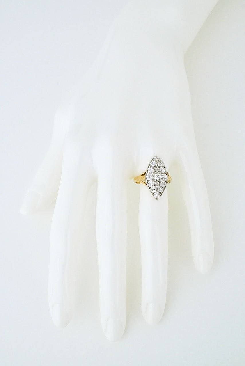 Antique 18k Yellow Gold Old Cut Diamond Marquise Shape Ring