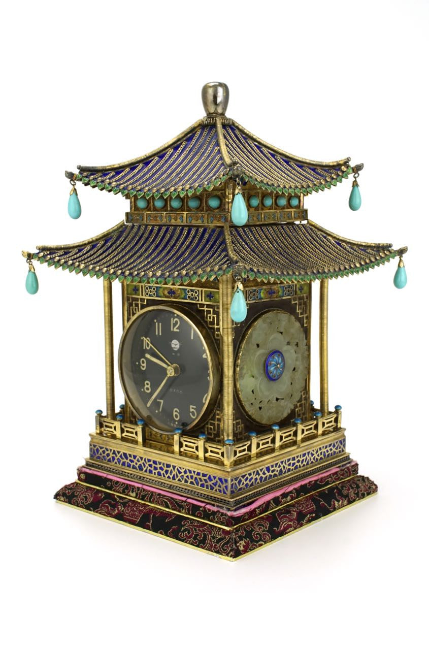 Chinese silver gilt enamel pavilion clock 1970s