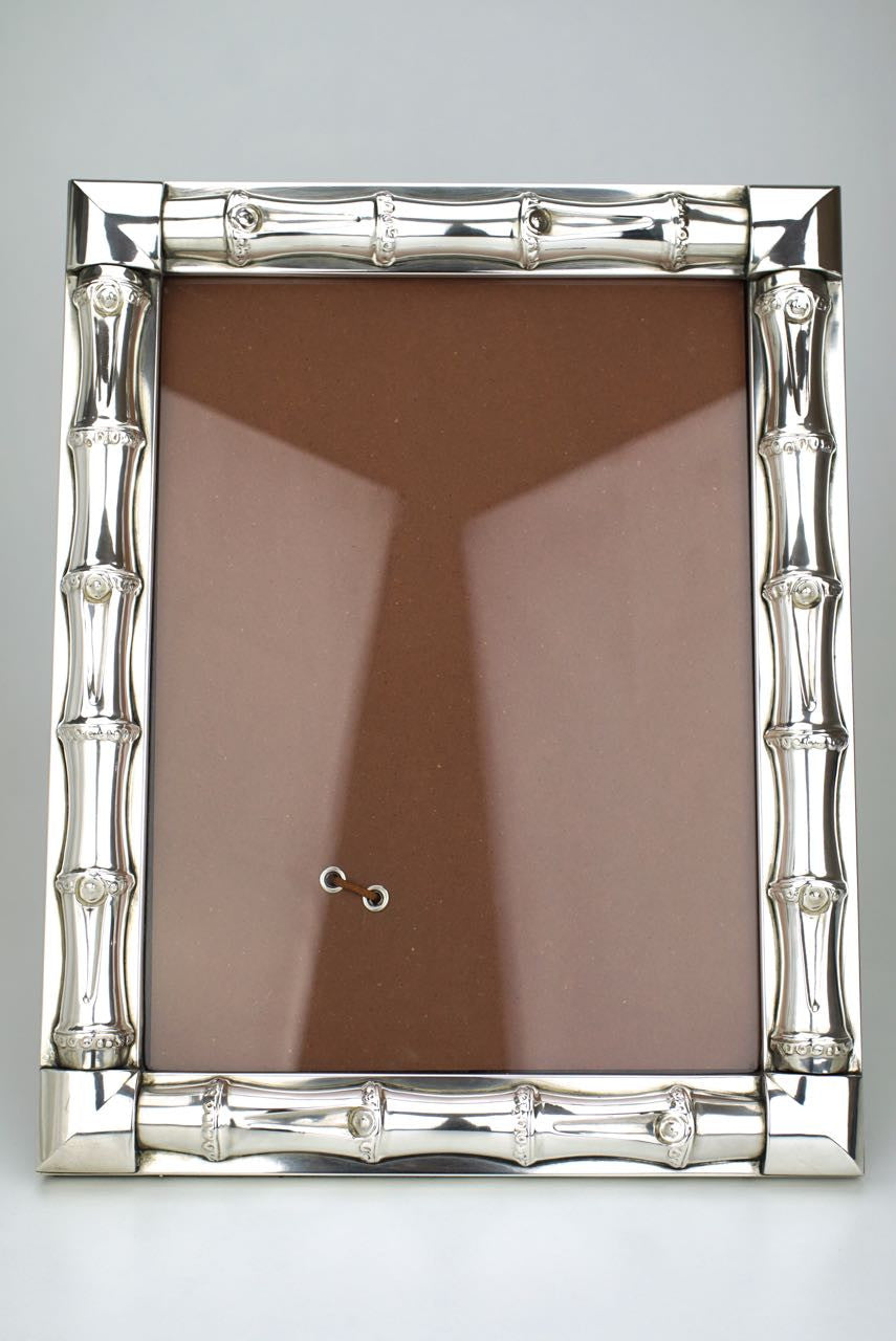 1960s Gucci Sterling Silver Bamboo Motif Photo Frame