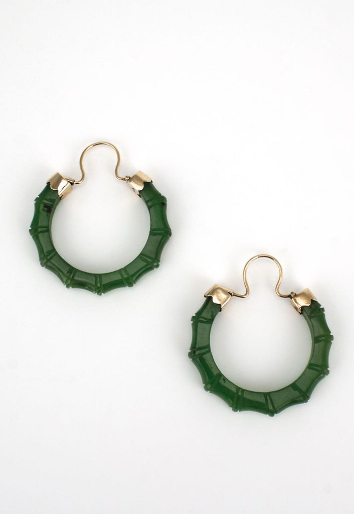 Vintage 14k yellow gold bamboo carved greenstone hoop earrings