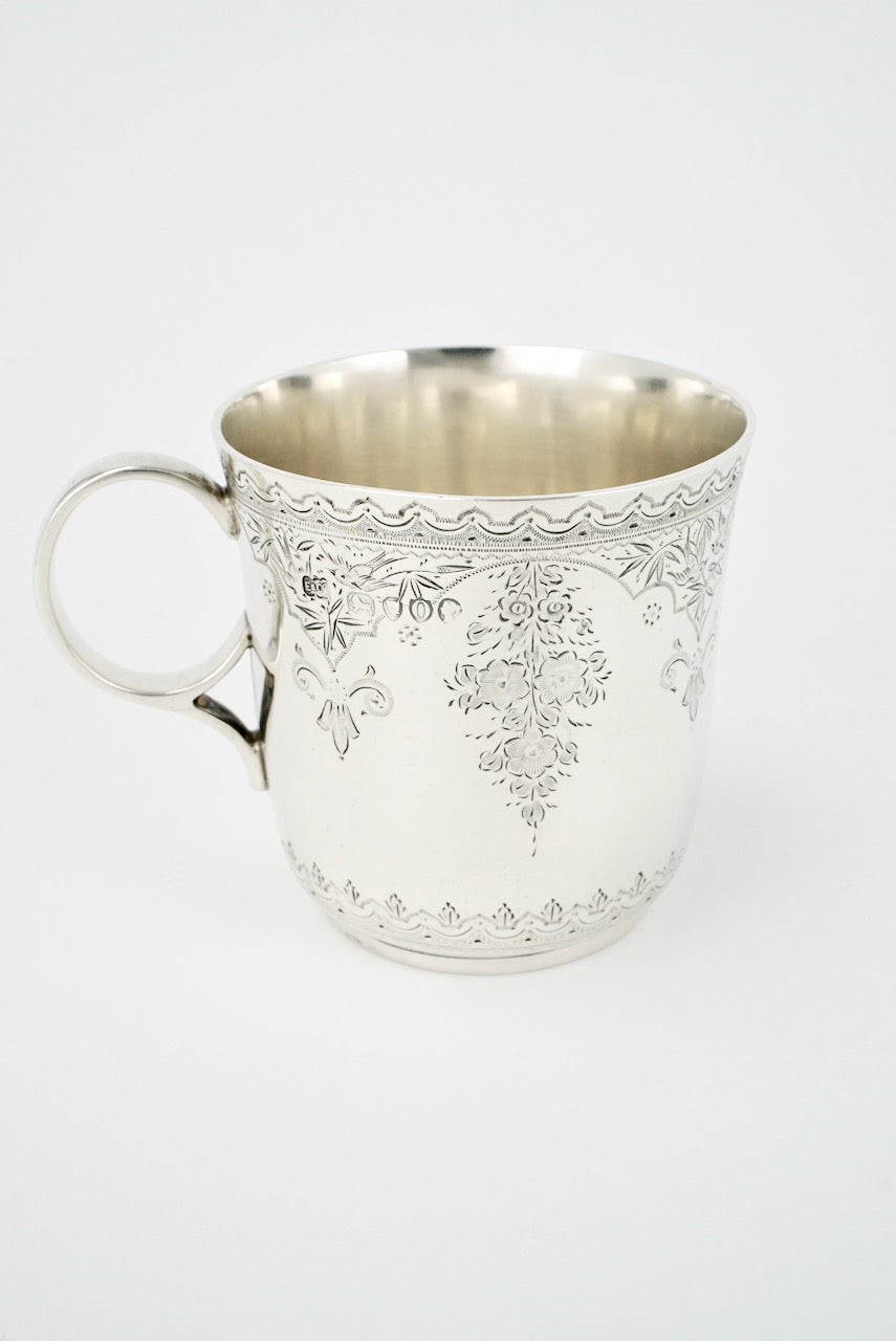 Antique Sterling Silver Christening Mug Cup 1889 England