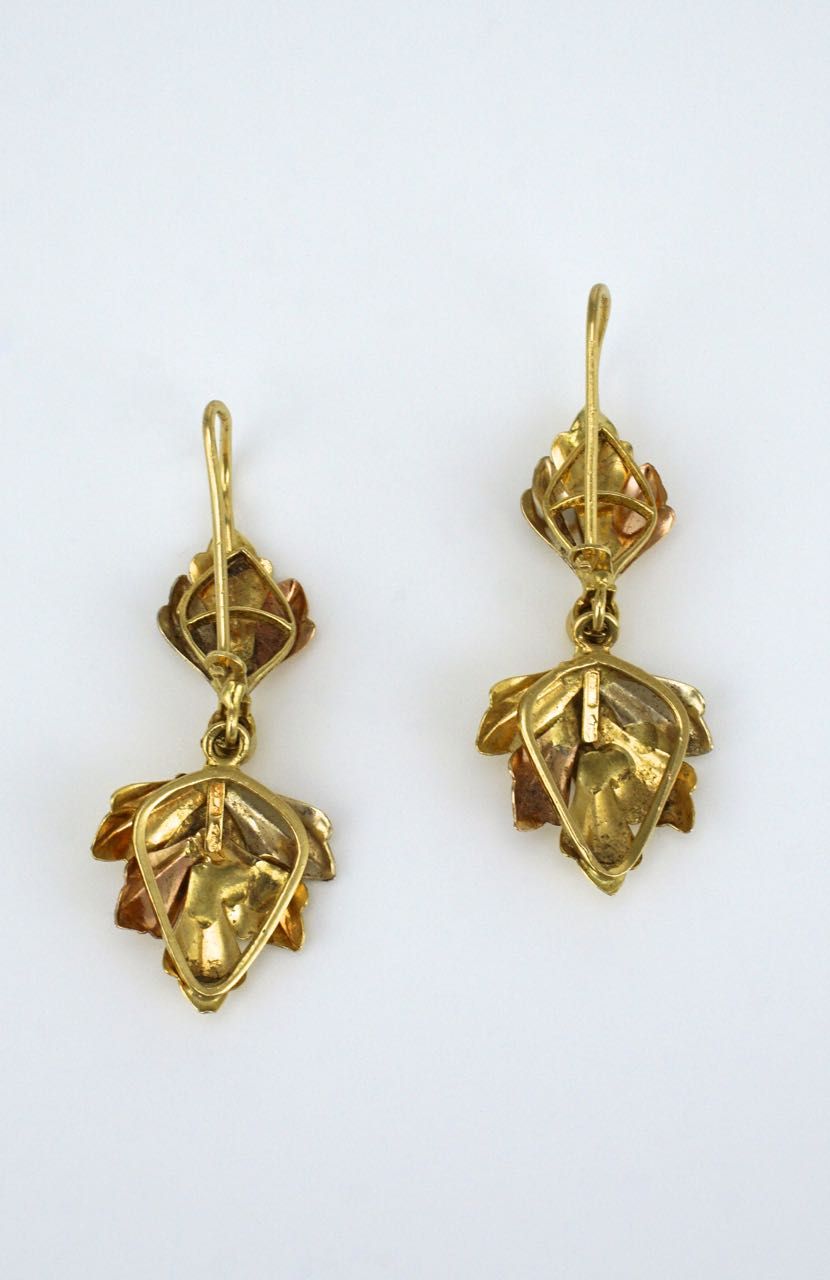 Vintage Italian 18k two tone gold leaf drop earrings