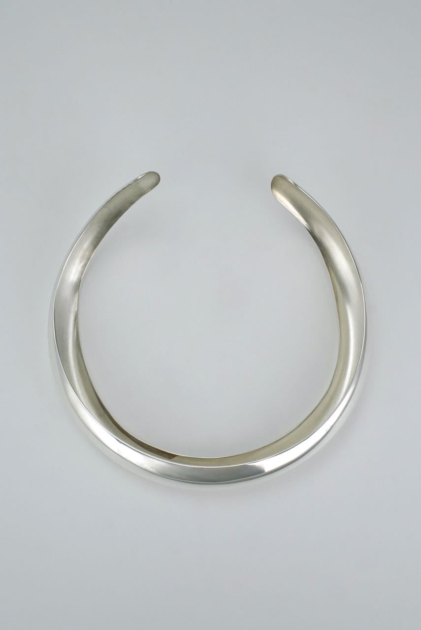 Hermès silver tubular collar necklace