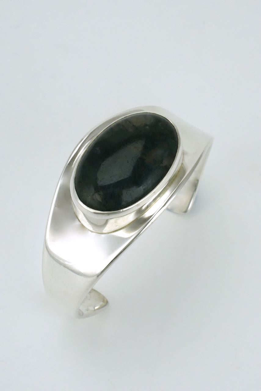 Vintage Bent Knudsen Silver Moss Agate Cabochon Cuff - Design 19
