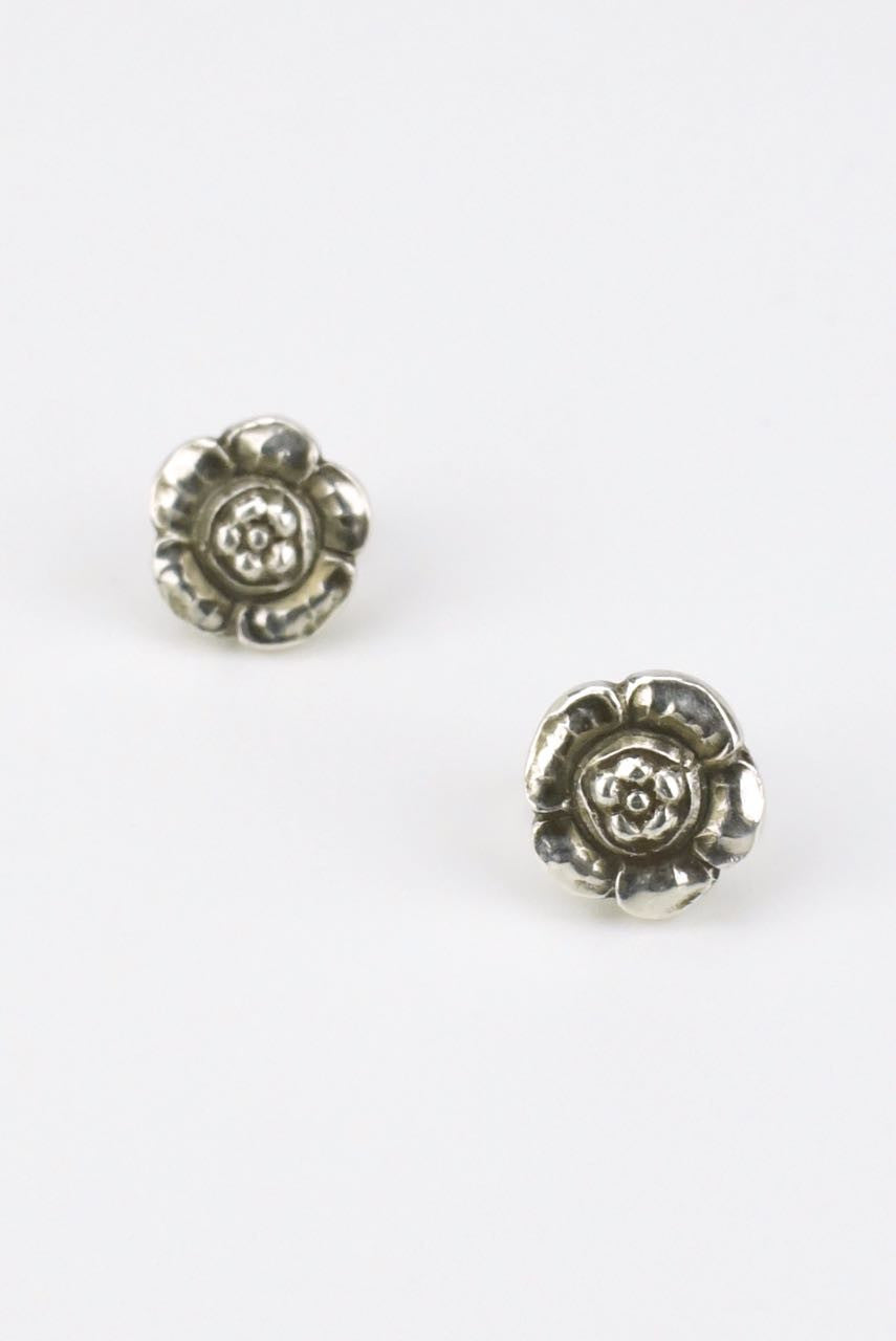 Georg Jensen silver small flower studs - design 21
