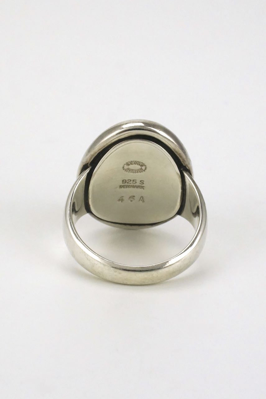 Georg Jensen silver and hematite ring - design 46A Harald Nielsen