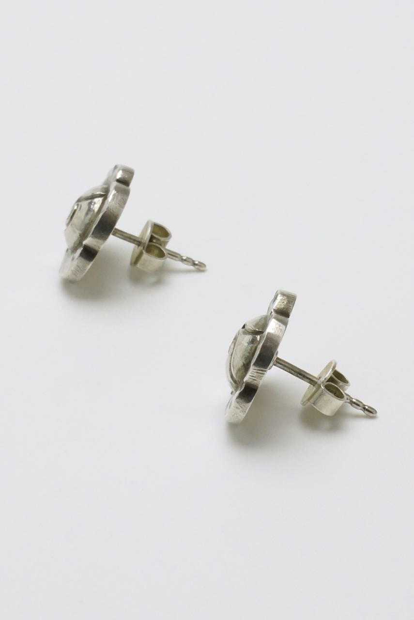 Georg Jensen silver medium flower stud earrings - design 89