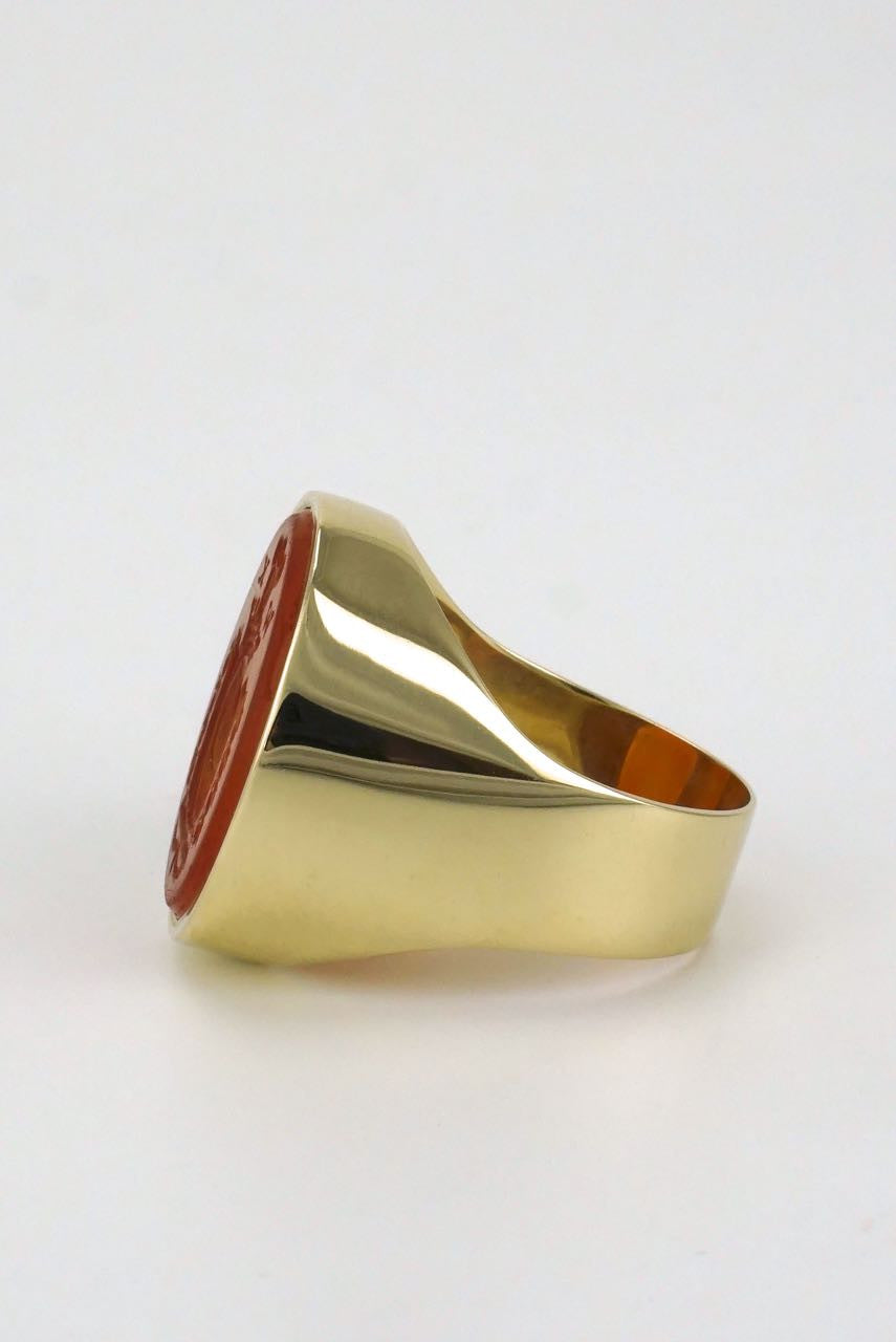 English 9k yellow gold carnelian intaglio seal ring