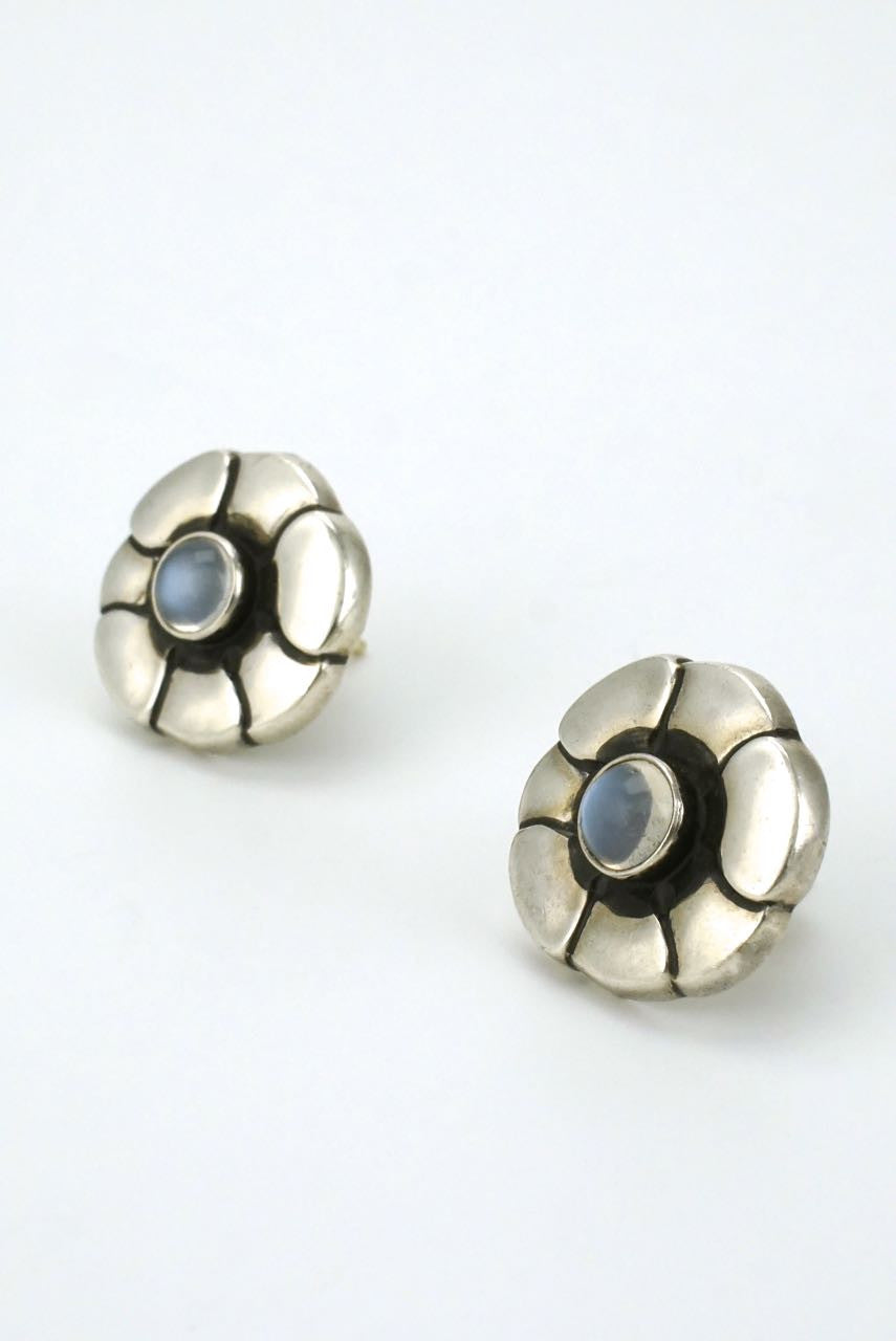 Georg Jensen silver moonstone stud earrings - design 36