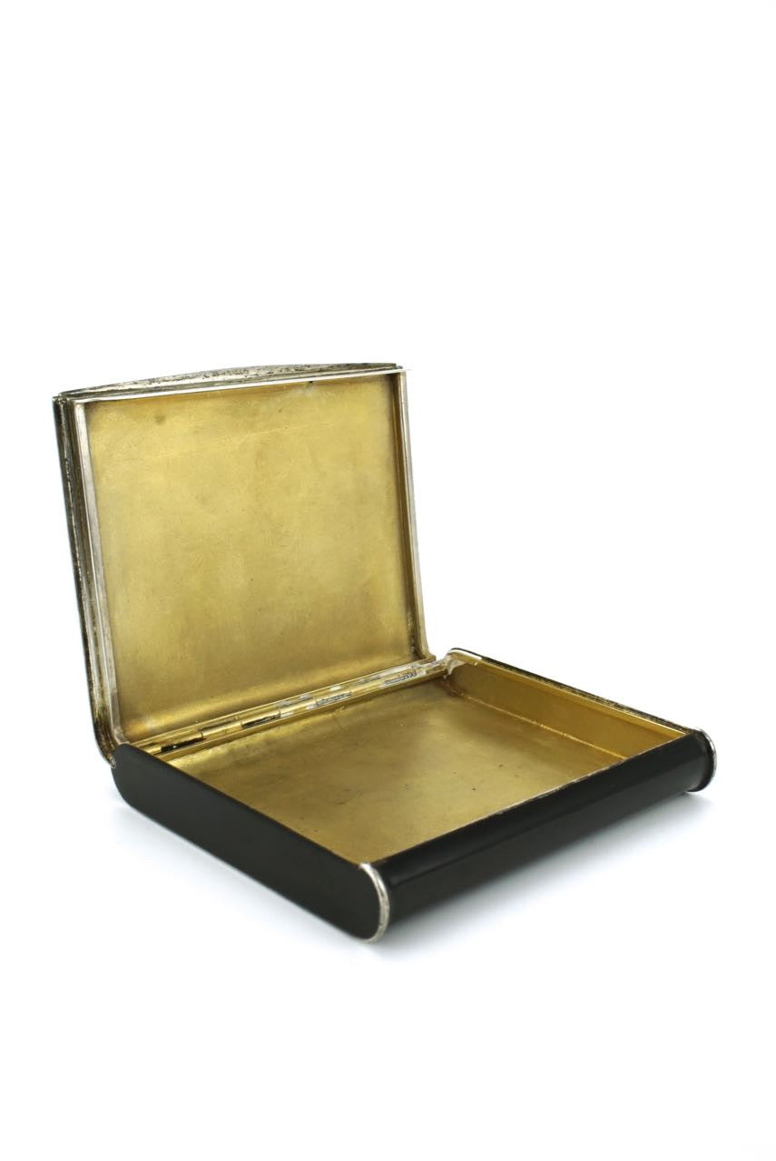 Alfred Dunhill silver and black enamel Art Deco box 1930s