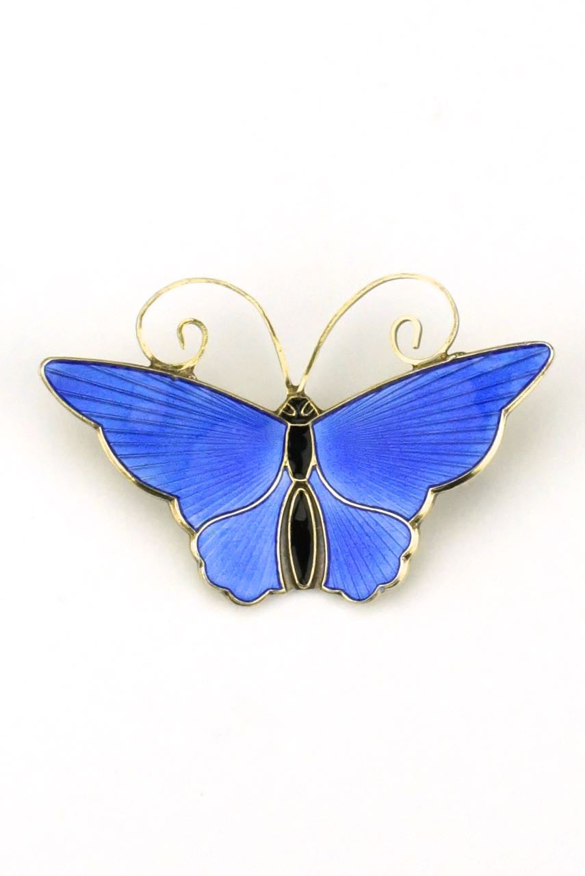 David Andersen silver and blue enamel butterfly brooch