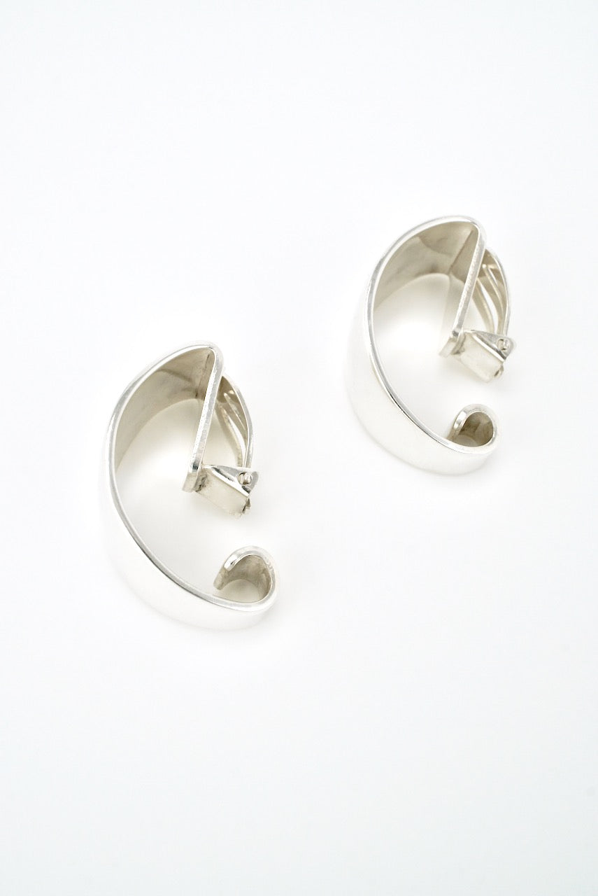 Vintage Tone Vigeland Sterling Silver Clip Earrings - Norway 1960s