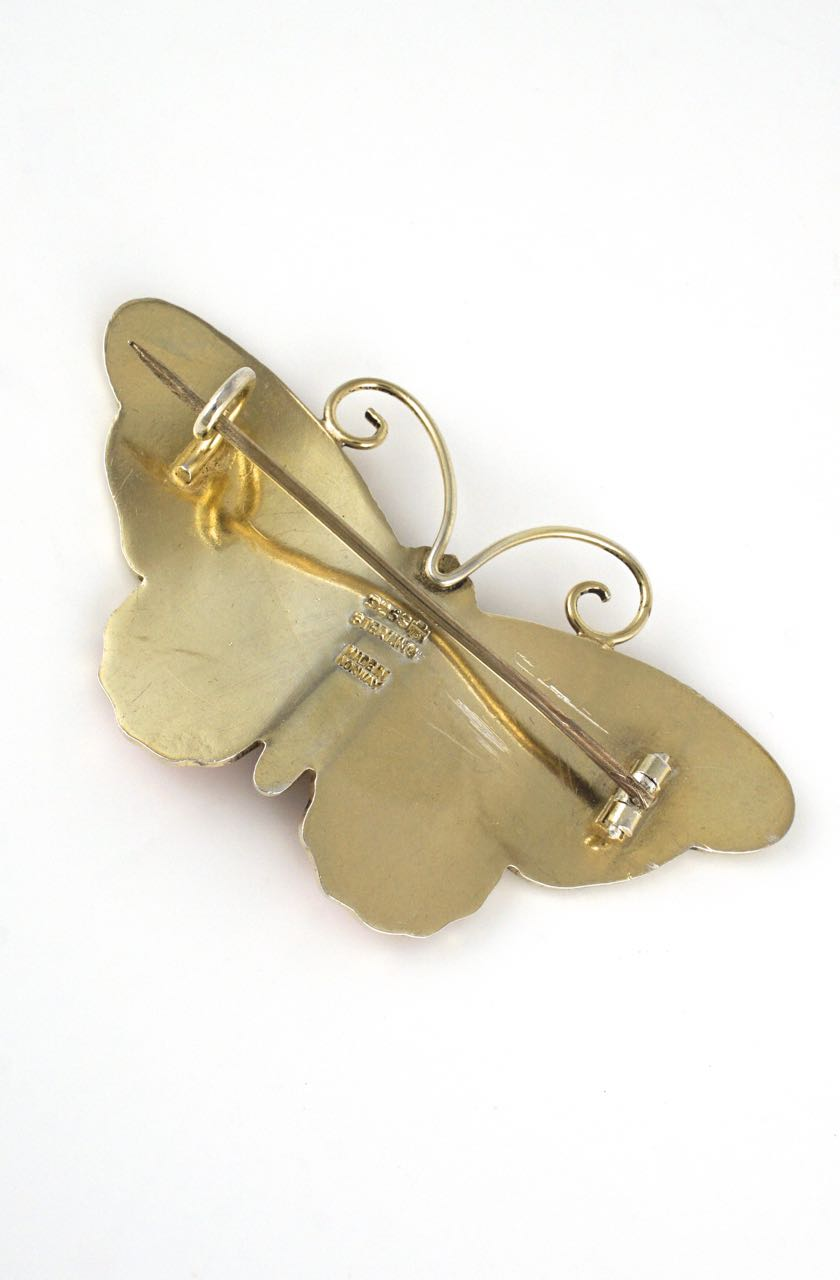 Antique Marius Hammer sterling silver enamel butterfly brooch